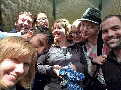 happy people in a lift