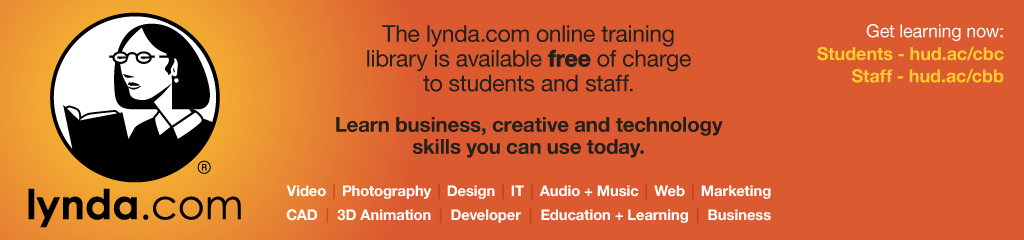 The Lynda.com online training library is available free students and staff