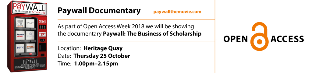 As part of Open Access Week 2018 we will be showing the documentary Paywall: The Business of Scholarship